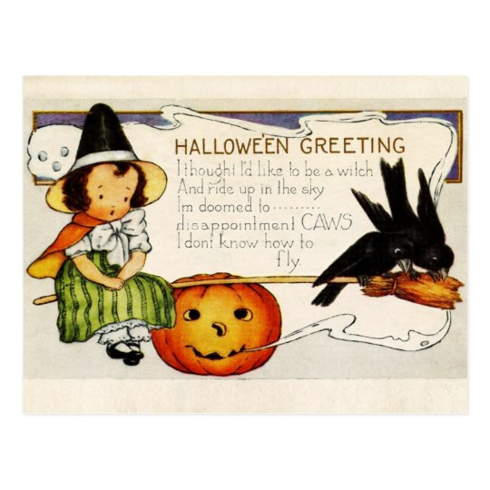 Halloween Greetings from the Little Witch Postcard