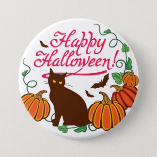 Halloween greetings with black cat 3 inch round button