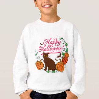Halloween greetings with black cat sweatshirt