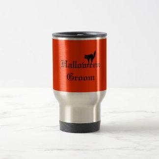 Halloween Groom with Black Cat - Orange and Black Mug