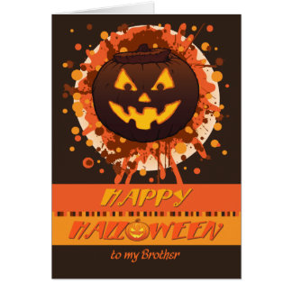 Halloween Grunge Pumpkin, for Brother - Funny Card