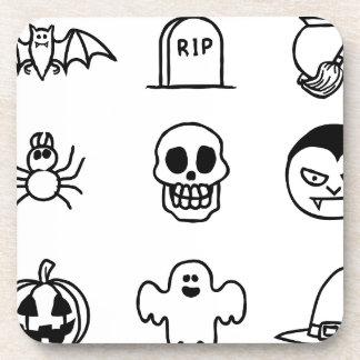 Halloween Hand Drawn Icon Set Beverage Coaster
