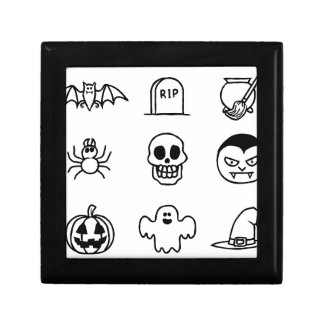 Halloween Hand Drawn Icon Set Jewelry Boxes