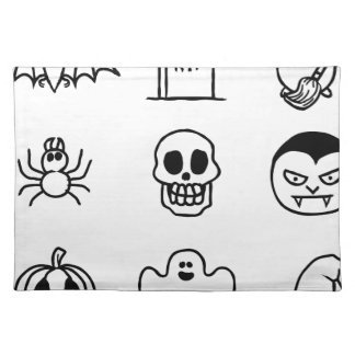 Halloween Hand Drawn Icon Set Placemat