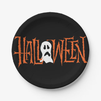 HALLOWEEN HAND LETTERING   PARTY PAPER PLATES 7 INCH PAPER PLATE