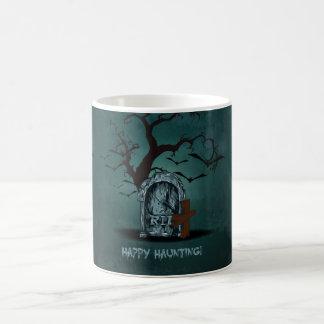 Halloween happy haunting grave RIP dead tree, bats Coffee Mug