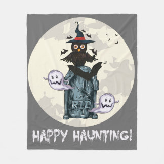 Halloween happy haunting owl and grave fleece blanket