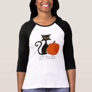Halloween harvest spooky black cat and pumpkin shi T-Shirt