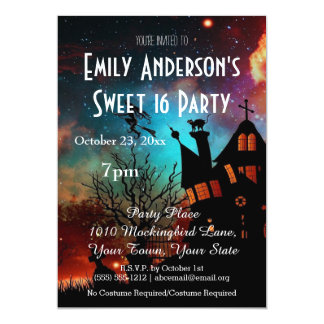 "Halloween Haunted House Costume Sweet 16 Birthday 5"" X 7"" Invitation Card"