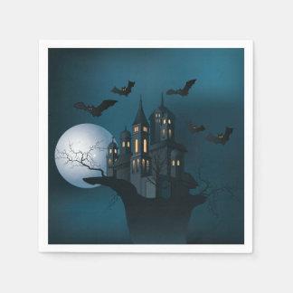 Halloween haunted house, dead tree, moon and bats disposable napkin