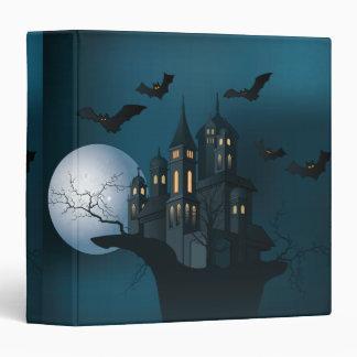 Halloween haunted house, dead tree, moon and bats vinyl binder