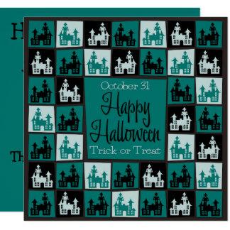 Halloween haunted house mosaic card