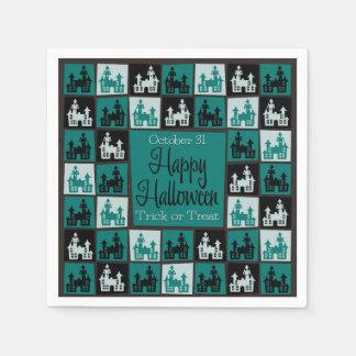 Halloween haunted house mosaic disposable napkin