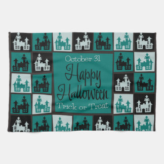 Halloween haunted house mosaic kitchen towel