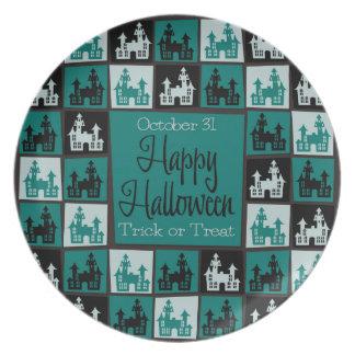 Halloween haunted house mosaic plate