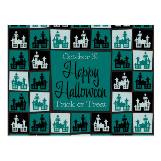 Halloween haunted house mosaic postcard