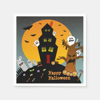 Halloween Haunted House Party Napkins Disposable Napkins