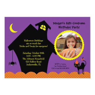 Halloween Haunted House Photo Birthday Invitation
