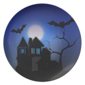 Halloween Haunted House Plate