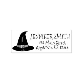 Halloween Haunted House Pointy Witch Hat Address Rubber Stamp