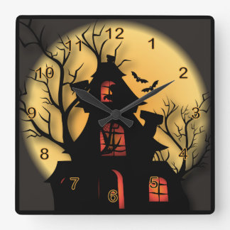 Halloween Haunted House Square Wall Clock