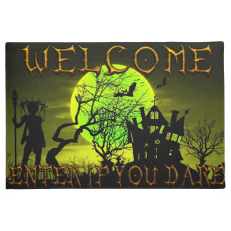 Halloween haunted house Welcome Enter If you Dare Doormat