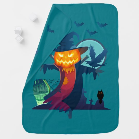 Halloween Haunted Scarecrow With Bats Crow And Owl Baby Blanket