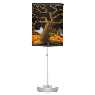 Halloween haunted village table lamp