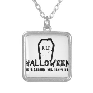 Halloween He's behind Silver Plated Necklace
