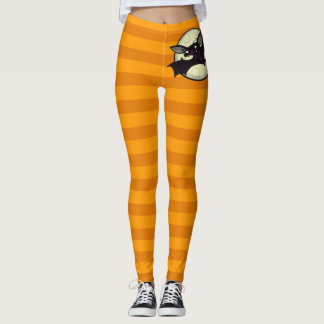 HALLOWEEN HIPSTER BAT WITH ORANGE STRIPES LEGGINGS