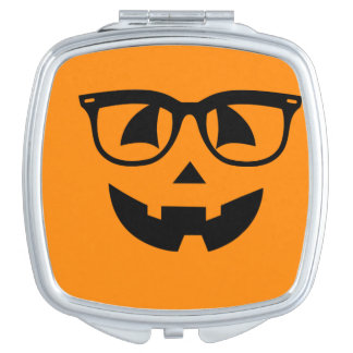Halloween Hipster Pumpkin Pattern Mirror For Makeup