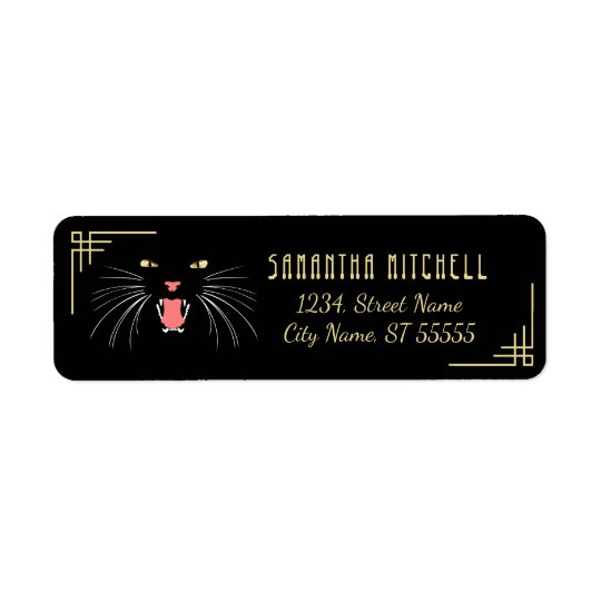 Halloween Hissing Cat Black Elegant Address Labels