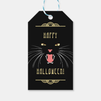 Halloween Hissing Cat Black Elegant Fun Gift Tag