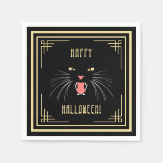 Halloween Hissing Cat Black Elegant Paper Napkins
