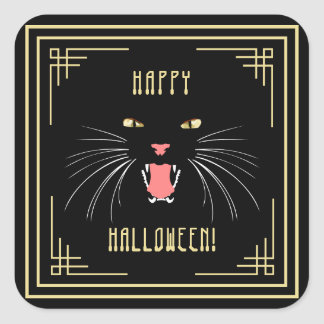 Halloween Hissing Cat Black Elegant Stickers