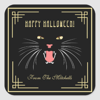 Halloween Hissing Cat Black Modern Fun Stickers