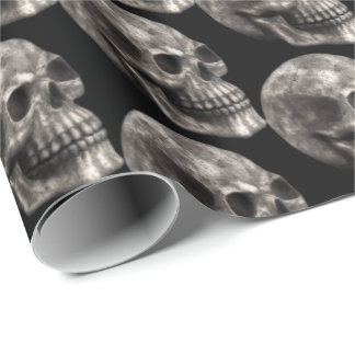 Halloween Holiday scary skull tiled party wrap Wrapping Paper