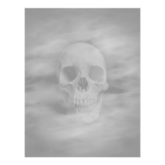 Halloween horror ghostly skull pale background letterhead