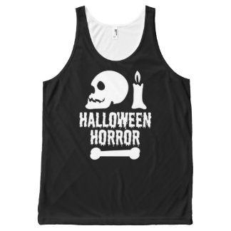 Halloween Horror Skull a Candle and a Bone All-Over-Print Tank Top