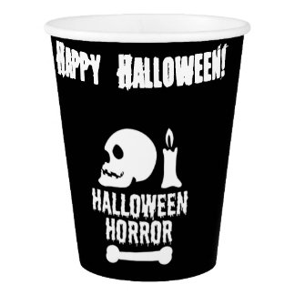 Halloween Horror Skull a Candle and a Bone Paper Cup