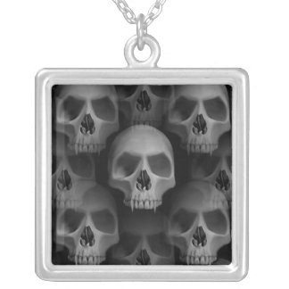 Halloween horror skulls silver plated necklace