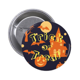 Halloween House Bats Trees Pumpkin Trick Or Treat 2 Inch Round Button