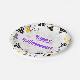 Halloween House Black Cat Witch's Brooms and Hat 7 Inch Paper Plate