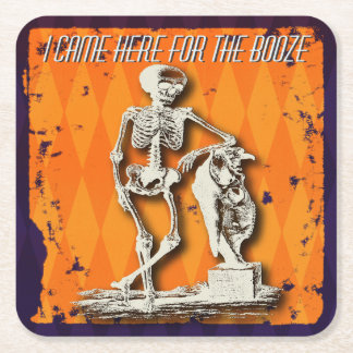Halloween Humor - I Came Here For The Booze Square Paper Coaster