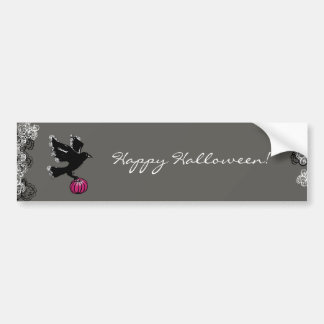 halloween illustration of a raven and a pumpkin bumper sticker