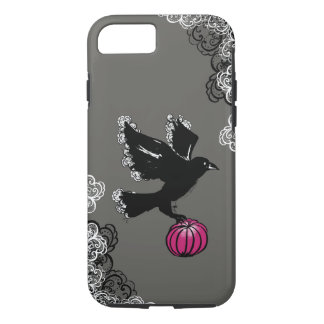 halloween illustration of a raven and a pumpkin iPhone 8/7 case