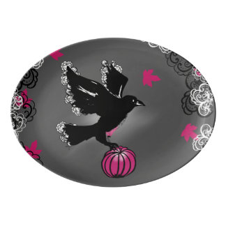 halloween illustration of a raven and a pumpkin porcelain serving platter