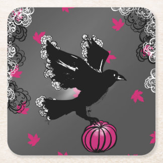 halloween illustration of a raven and a pumpkin square paper coaster
