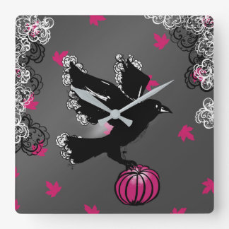 halloween illustration of a raven and a pumpkin square wall clock