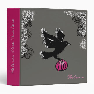halloween illustration of a raven and a pumpkin vinyl binders